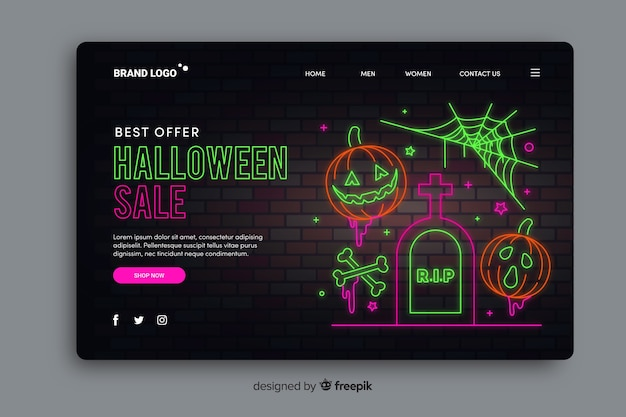 Página de destino de néon de venda de halloween