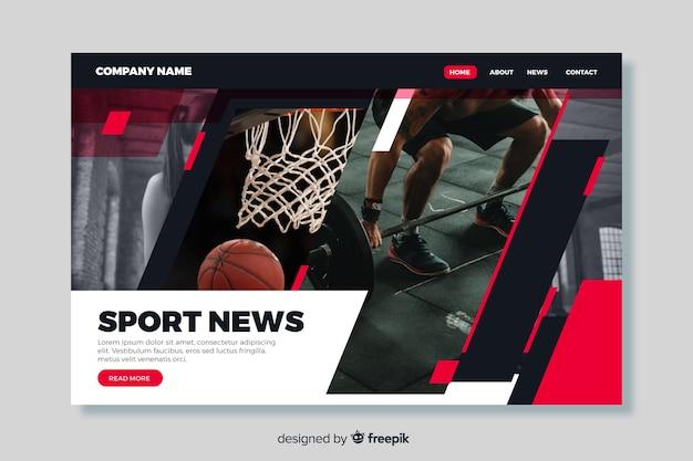 Página de destino de notícias esportivas com foto