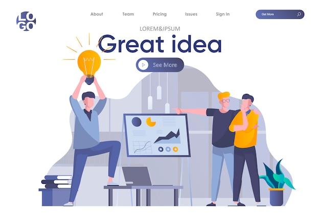 Página de destino de ótima idéia com cabeçalho. homem apresentando nova grande idéia perante investidores, equipe de inicialização de brainstorming na cena do escritório. coworking, trabalho em equipe e criatividade situação ilustração plana.
