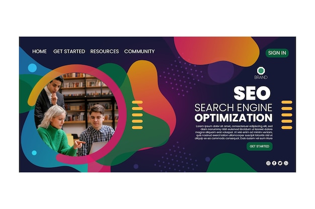 Página de destino de otimização de mecanismo de pesquisa de seo