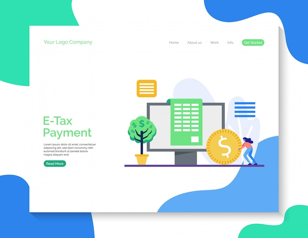 Página de destino de pagamento de impostos eletrônicos