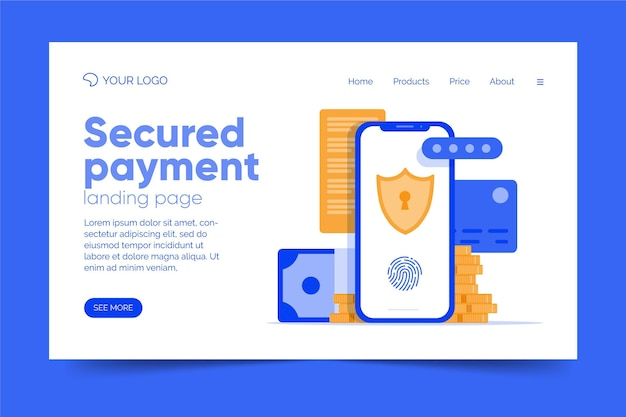 Página de destino de pagamento seguro de modelo de design plano