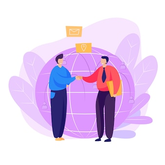 Página de destino de parceiros que agitam as mãos