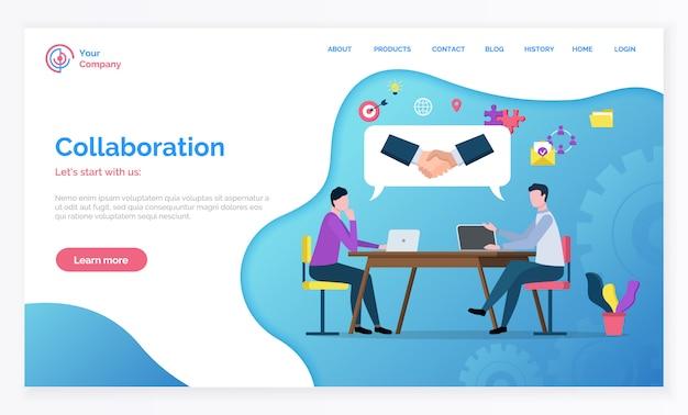 Página de destino de parceria e trabalho em equipe
