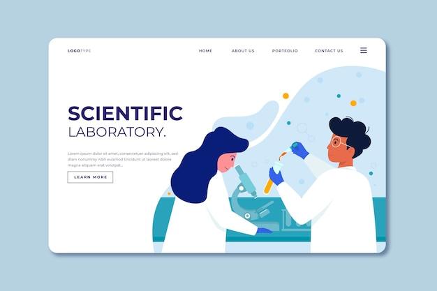 Página de destino de pesquisa científica de modelo de design plano