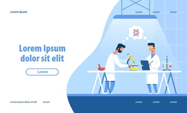 Página de destino de pesquisa de laboratório médico