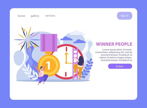 Página de destino de pessoas vencedoras com relógio de troféus e pessoas