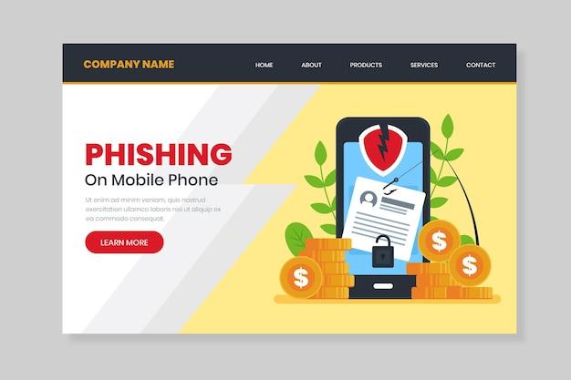 Página de destino de phishing para smartphone