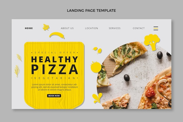 Página de destino de pizza saudável de design plano