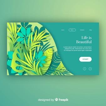 Página de destino de plantas desenhadas à mão