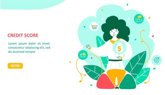 Página de destino de pontuação de crédito em design plano