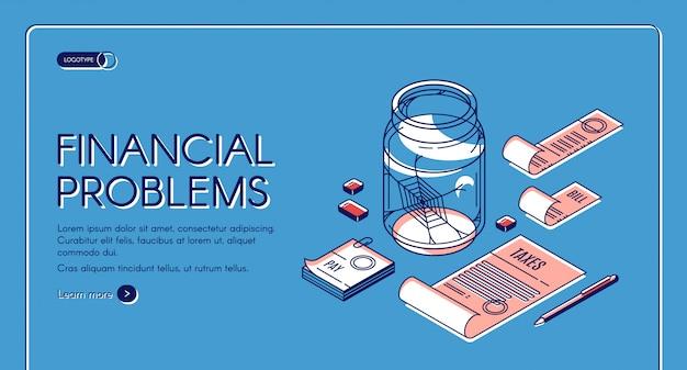 Página de destino de problemas financeiros