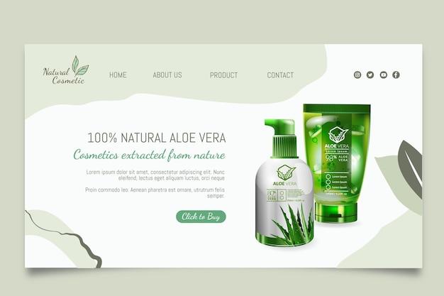 Página de destino de produtos cosméticos naturais