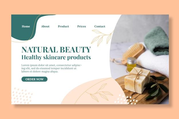 Página de destino de produtos cosméticos orgânicos
