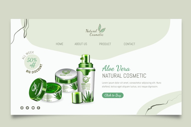Página de destino de produtos cosméticos