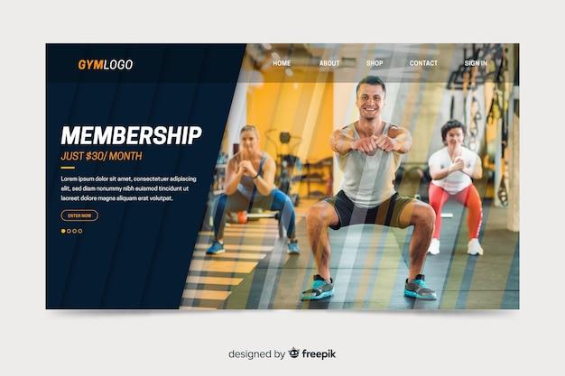 Página de destino de promoção de academia com foto