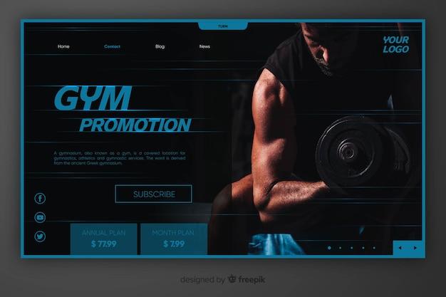 Página de destino de promoção de academia com imagem