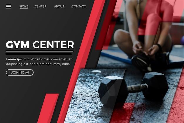 Página de destino de promoção de ginásio de centro de academia