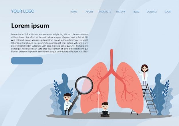 Página de destino de pulmões humanos