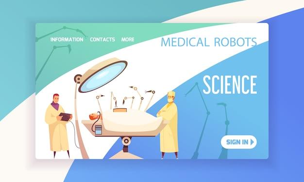 Página de destino de robôs médicos com cirurgiões na sala de cirurgia, equipada com ilustração de dispositivos modernos