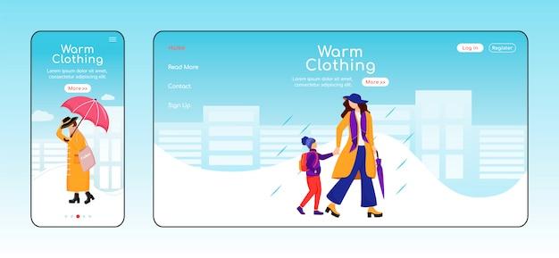 Página de destino de roupas quentes