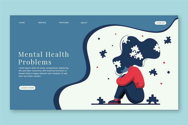 Página de destino de saúde mental de design plano