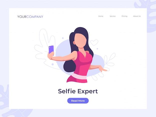 Página de destino de selfie de mulher