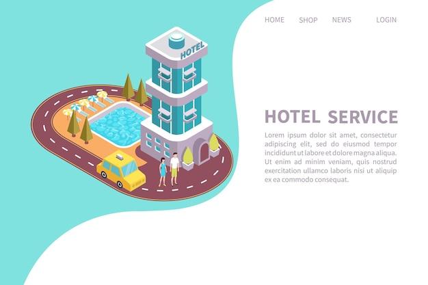 Página de destino de serviços de instalações de hotéis modernos