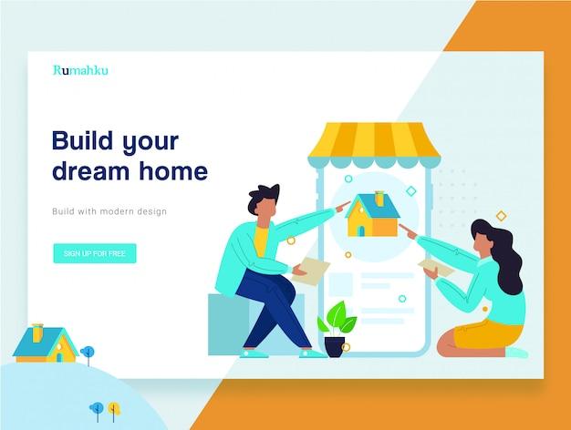 Página de destino de site de conceito de casa compra