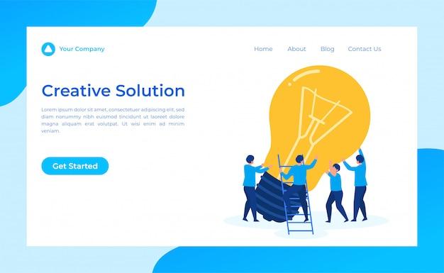 Página de destino de solução criativa de trabalho em equipe