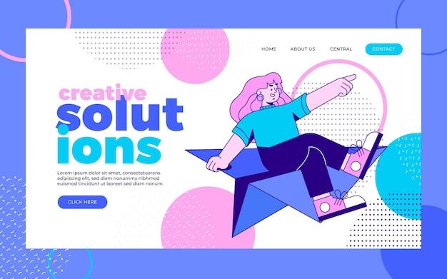 Página de destino de soluções criativas de design plano orgânico
