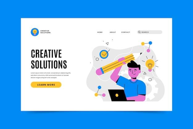Página de destino de soluções de criativos orgânicos