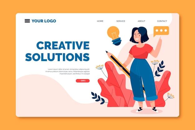 Página de destino de soluções de criativos planos orgânicos