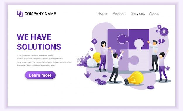 Página de destino de soluções de negócios. v