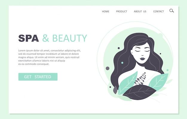 Página de destino de spa e beleza. designer de web. ilustração em estilo cartoon.