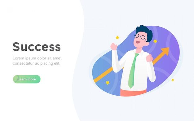 Página de destino de sucesso de negócios plana moderna