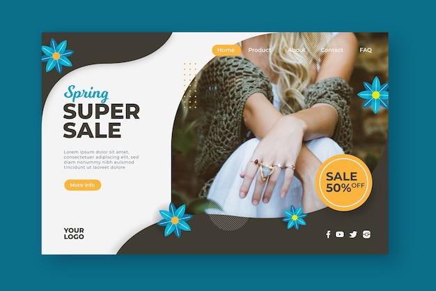 Página de destino de super venda de primavera floral