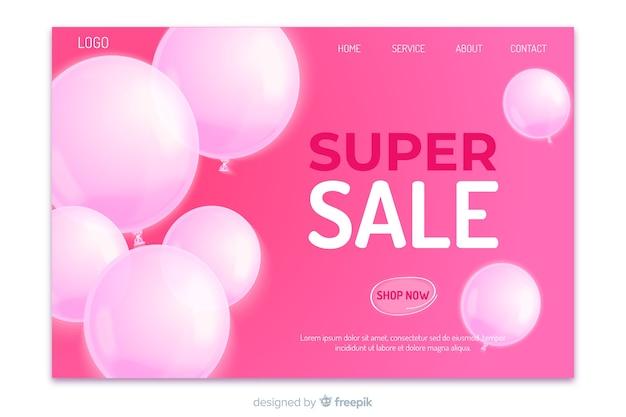 Página de destino de super venda realista