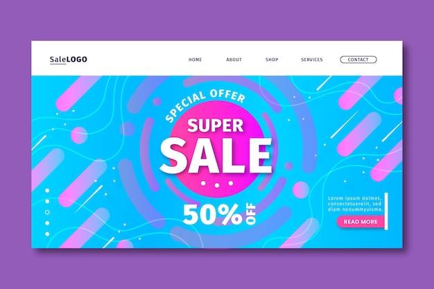 Página de destino de super vendas gradiente