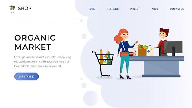 Página de destino de supermercado