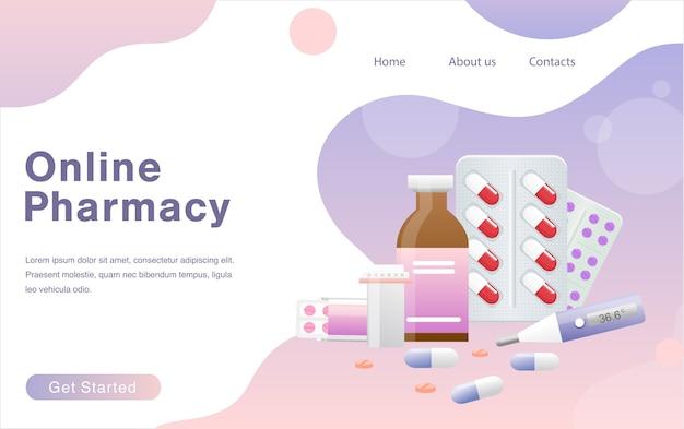 Página de destino de suprimentos médicos e garrafas de líquidos