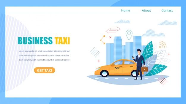 Página de destino de táxi de negócios. homem à espera de carro.