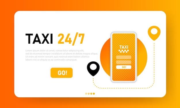 Página de destino de táxi online 24 7. aplicativo móvel do serviço de transporte da cidade. táxi online