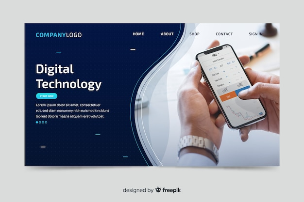 Página de destino de tecnologia com foto de celular