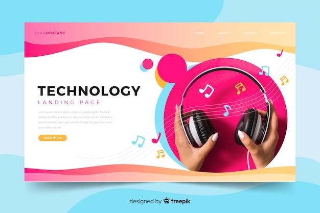 Página de destino de tecnologia com foto de fones de ouvido