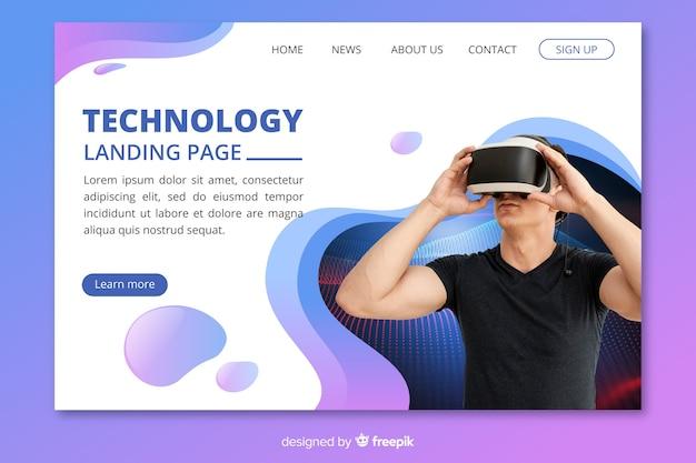 Página de destino de tecnologia com foto