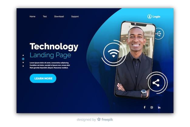 Página de destino de tecnologia com smartphone
