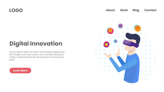 Página de destino de tecnologia de inovação digital