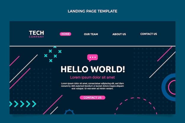 Página de destino de tecnologia mínima de design plano