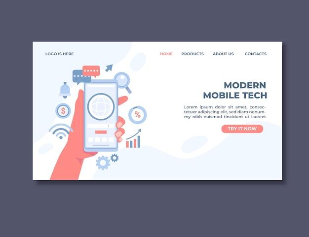 Página de destino de tecnologia móvel